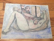 John Coble (1928-2018) Colored Pencil Drawing Reclining Nude Detroit Artist 1975