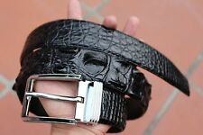 4 cm Wide Black Genuine Alligator, CROCODILE Leather Skin Men's Belt S-XXL