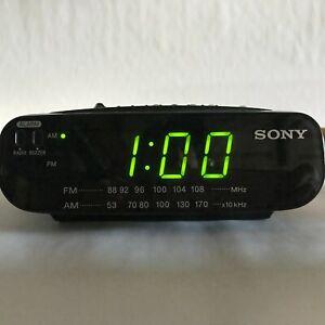 SONY FM AM Digital Clock Radio Alarm Dream Machine ICF-C212 Black Tested