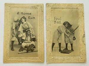 Early 1900's Baseball Postcards Set of 4 - Used & Postmarked