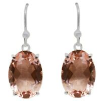 925 Sterling Silver Morganite Quartz Gemstone 4.59 gm Silver Earring Jewelry CCI