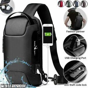 Mens Waterproof Anti-theft Backpack USB Charging Sling Chest Crossbody Bag