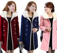 Korean Womens lapel Thick Slim Fit Trench Coat Wool Blend Mid-long Jacket