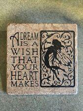 Faux Stone Fairy Faerie Tile Wall Decor Dream Wish Heart Cinderella Quote