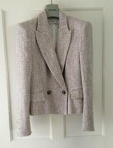 SAINT LAURENT multicoloured double breasted boucle tweed blazer jacket M 8/10