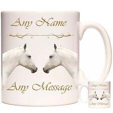 WHITE HORSE MUG, PERSONALISED MUG  Any Name and Any Message Dishwasher Safe