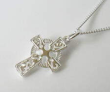 925 Sterling SILVER Celtic Cross Pendant Necklace With Chain
