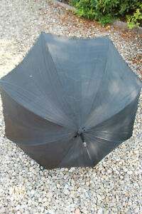 Antique Victorian mourning parasol, black lace lining