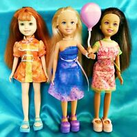 WEE THREE FRIENDS - Fully Dressed Smiling Dress Balloon Shoes Loose Dolls Mattel
