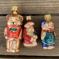 3- VTG German Glass Xmas Ornaments Santa Claus Christborn Pig & Bear in Vest F/S
