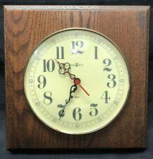 Vintage Howard Miller Wall Hanging Clock Oak Wall Square Model 612-606