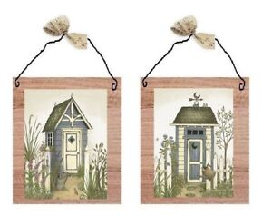 💗 Outhouse Pictures Blue Grey Outhouses Bathroom Wall Hanging Decor Plaques