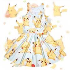 UK Pokemon Pikachu Print Girl Sweet Kawaii Anime A-line Cartoon Summer Dress