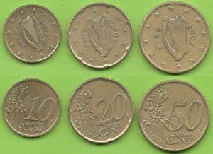 Irlande; 10, 20 et 50 cent, 2002, pièces ayant circulé
