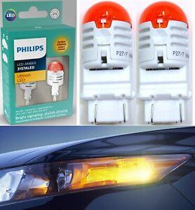 Philips Ultinon LED Light 3157 Amber Orange Two Bulb Front Turn Signal Park Lamp