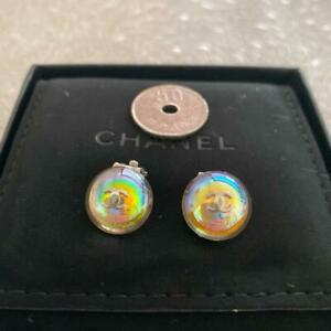 Auth Vintage CHANEL CC Logo Rainbow Round Clip On Earrings Used from Japan F/S