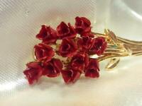 Beautiful Vintage 1970's Enamel Red Roses Flower Bouquet Brooch 259F9