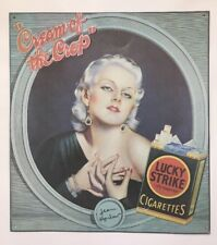 """Jean Harlow Lucky Strike Cigarettes Tin Wall Sign Tobaccoana """"Cream Of The Crop"""""""