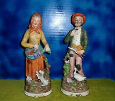 """Porcelain 14"""" Figurines Old Man & Woman Farmers Home Interiors HOMCO #1977"""
