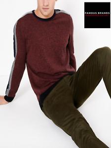 Ex M&S Mens Crew Neck Cotton Rich Jumper Sweater Pullover RRP £29.50