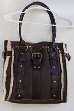 BCBG Max Azria Medium Brown Leather Tote Shoulder Bag  Purse w/Wool Lining