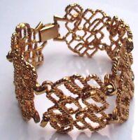 bracelet couleur or bijou vintage ajouré maillon finement gravé en relief  2624