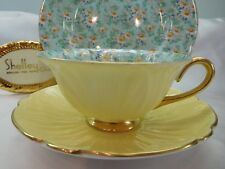 SHELLEY MARGUERITE CHINTZ  FOOTED OLEANDER  CUP, SAUCER & PLATE #13693 GOLD TRIM