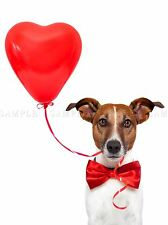JACK RUSSELL DOG VALENTINES LOVE BALLOON ART PRINT POSTER PICTURE BMP2042A