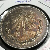 MEXICO 1933 SILVER PESO NICELY TONED COIN