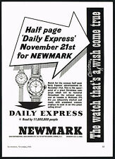 1950's Vintage 1956 Newmark Watches Daily Express Campaign Watch Print AD