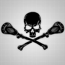 Lacrosse Skull and Crossbones Wall Decal, Lacrosse Sticker 32""