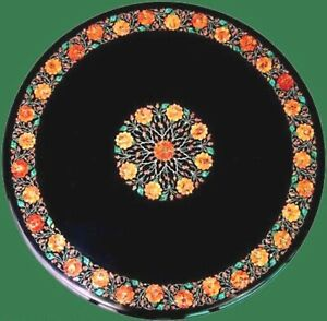 48 Inches Marble Conference Table Top Hand Inlaid Dining Table with Gemstones