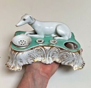 Antique French? Signed F & R~lX~Figural Gilded Hand Paint Whippet~DBL Inkwell