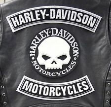 Set Kit 3 Toppe Patch Skull Willie G.Grande Harley Davidson Gilet Giubbotto XL