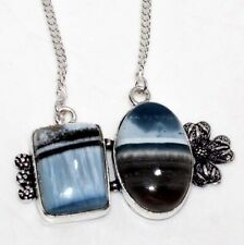 """Owhyee Blue Opal 925 Sterling Silver Plated Necklace 16"""" GW"""
