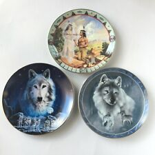 3 Native American Plates Hamilton Wolves and Peace Pipe 1994 1995 Bradex Vtg