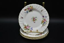 """(4) Minton English Marlow Scalloped Flowers & Gold 6 1/4"""" Bread Plates (S309)"""