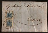 1858 Triest Austria Letter Sheet Cover To Kotor Montenegro Sc# 5 9 Kreuzer