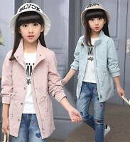 Kids Girls 100% Cotton Trench Outdoor Coat Jacket Soft Travel Outwear Age 3-12