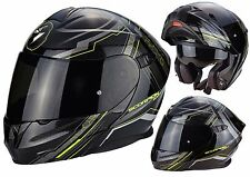 CASCO MOTO MODULARE APRIBILE SCORPION EXO 920 SATELLITE NERO GIALLO FLUO TG XL