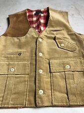 New Polo Ralph Lauren Medium Corduroy VTG Vest Jacket RRL Hunting Brown Leather