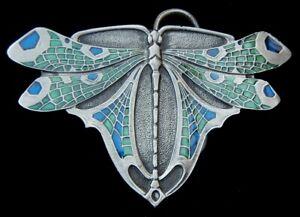 BEAUTIFUL DETAILED DRAGONFLY BELT BUCKLE BERGAMOT PEWTER US MADE NEW