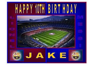 PERSONALISED Barcelona Football Stadium BIRTHDAY CAKE TOPPER A4 Icing Sheet 10x8