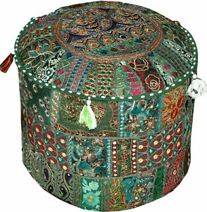 """Patchwork Seat Pouffe Ottoman Cover Turquoise Vintage Footstool Pouf Cover 18"""""""