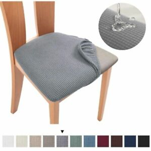 Spandex Jacquard Dining Room Chair Seat Cover Removable Washable Elastic Cushion