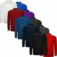 2 Pack Mens Polo T Shirt River Road Long Sleeve Tipping Pocket Pique Top M-XXL
