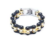 Motorcycle Chain Link Bracelet Black/Gold Stainless Steel Men Size Free Shipping