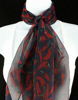 Red Chili Pepper Women's Scarf Fun Novelty Food Chilis Scarfs Gift Blue Scarves