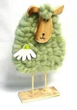 Gilde 20544 Wollschaf mit Filz grün 30 cm Holz Wolle Dekoration Deko Figur Blume