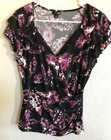 EAST 5TH ESSENTIAL Womens Size Large Black Purple White Coral Top Blouse Shirt